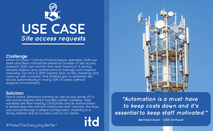 use-case-ontower-site-access-requests-telecom-clickoniste-itd